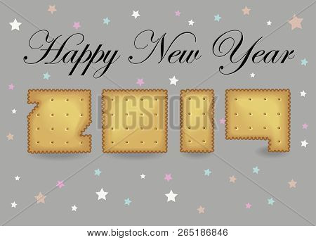 happy new year 2019 artistic yellow number as cracker cookies gray background with colorful