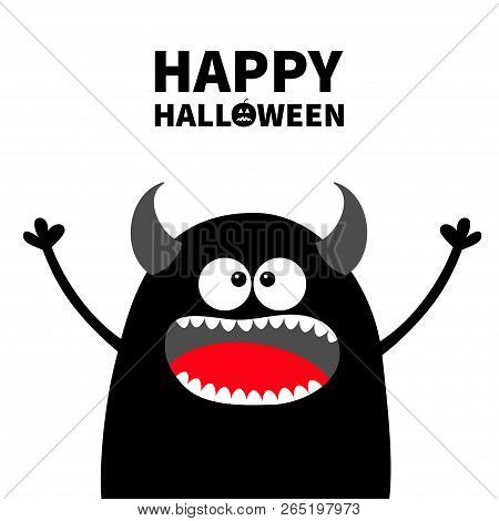 Happy Halloween. Cute Black Silhouette Monster Face. Cartoon Colorful Scary Funny Character. Eyes, T