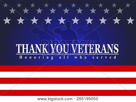 Veterans Day With American Flag, Thank You Veterans Text
