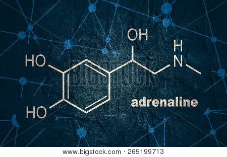 Chemical molecular formula hormone adrenaline. Infographics illustration. poster