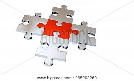3d Illustration Of Four Grey Puzzle Pieces Encircle One Red Piece With A White Background