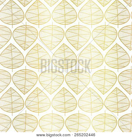 Gold Foil Fall Leaves On White Seamless Vector Background. Subtle Abstract Fall Pattern. Vector Repe