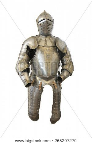 Metal helmet and armor of a medieval knight on a white background
