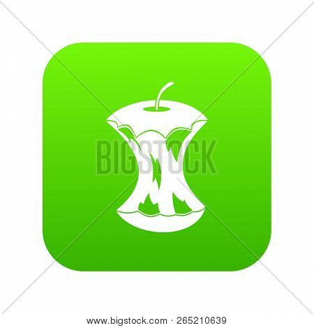 Apple Core Icon Digital Green For Any Design Isolated On White Vector Illustration