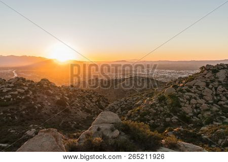 Sunny morning view of the San Fernando Valley in Los Angeles, California.  Shot from Santa Susana Pass State Historic Park looking east towards Verdugo Mountain and Griffith Park.