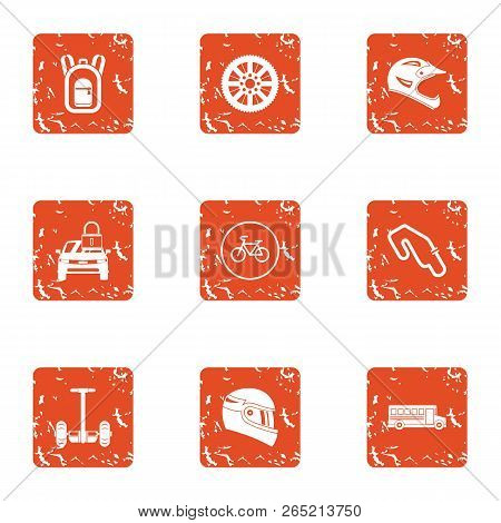 Reaction Of The Rider Icons Set. Grunge Set Of 9 Reaction Of The Rider Vector Icons For Web Isolated