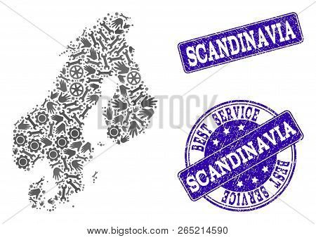 Best service collage of mosaic map of Scandinavia and blue scratched seal stamps. Mosaic map of Scandinavia constructed with gray gears and wrenches. Vector blue seals with scratched rubber texture. poster