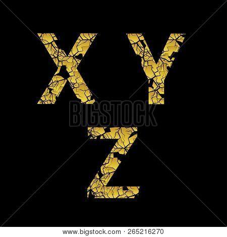 Golden Broken X Y Z Letters, Old Cracked Letters. Vector Illustration