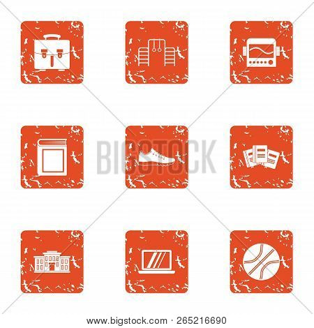 Director Icons Set. Grunge Set Of 9 Director Vector Icons For Web Isolated On White Background