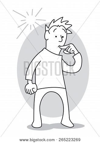 Undecided Man Holds His Finger At His Mouth, Has Doubts, Has No Idea. Cartoon Vector Illustration
