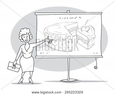 A Woman With A Folder In Her Hand Giving A Presentation.  She Shows Pie Chart On Whiteboard By Her H