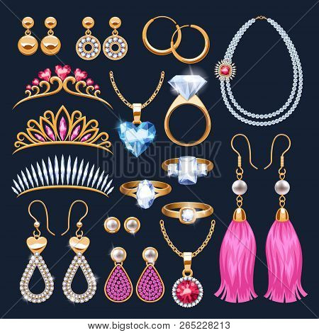 Realistic Jewelry Accessories Icons Set. Tiaras And Rings. Gold And Diamond Pearl Gemstones Pendant