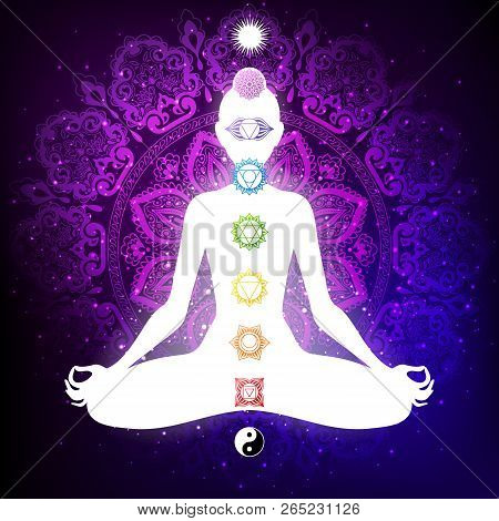 Meditating Woman In Lotus Pose. Yoga Illustration. Colorful 9 Chakras And Aura Glow. Mandala Backgro