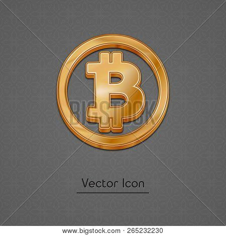 Golden Bitcoin Symbol Isolated Web Vector Icon. Bitcoin Trendy 3d Style Vector Icon. Raised Symbol I