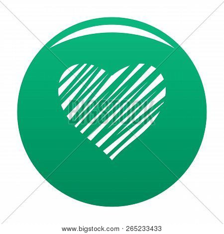 Shaded Heart Icon. Simple Illustration Of Shaded Heart Vector Icon For Any Design Green