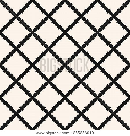 Square Grid Vector Seamless Pattern. Abstract Geometric Monochrome Texture With Diagonal Cross Lines