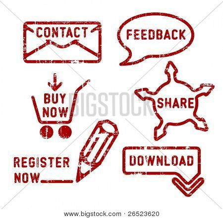 Simple red vector contact, feedback, share, buy, download, register stamps
