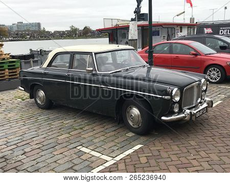 Dordrecht, The Netherlands - October 25, 2018: Rover 3.5 Litre Saloon Parked On A Public Parking Lot