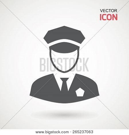 Police Icon Vector. Policeman Officer Avatar Illustration. Soldier Icon. Element Of War And Piece. S
