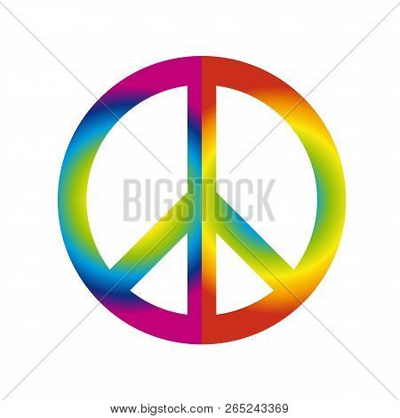 Colorful Peace Sign Symbol In Rainbow Colors Isolated On White Background Vector Illustration Eps10