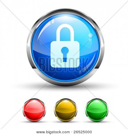 Locked Cristal Glossy Button with light reflection and Cromed ring. 4 Colours included.