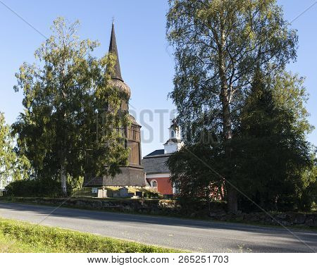 Borgsjo, Sweden On July 05. View Of Borgsjo Church And The Cemetery This Side On July 05, 2018 In Bo