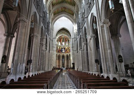 Madrid, Spain - September 2, 2009: Interior Of Almudena Cathedral, Madrid. It Is The Seat Of The Rom