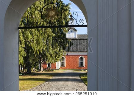 Borgsjo, Sweden On July 05. View Of Borgsjo Church And The Entrance On July 05, 2018 In Borgsjo, Swe