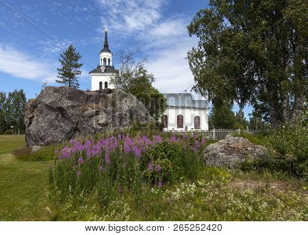 Havero, Sweden On July 06. View Of A Huge Boulder This Side Havero Church On July 06, 2018 In Havero