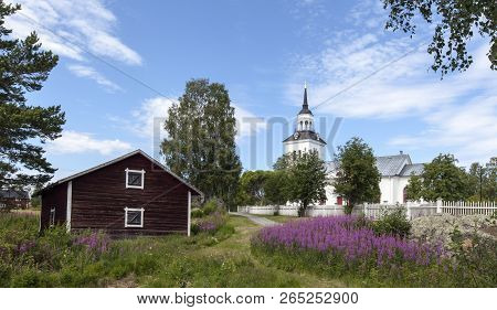 Havero, Sweden On July 06. View Of Havero Church From The Lakeside On July 06, 2018 In Havero, Swede