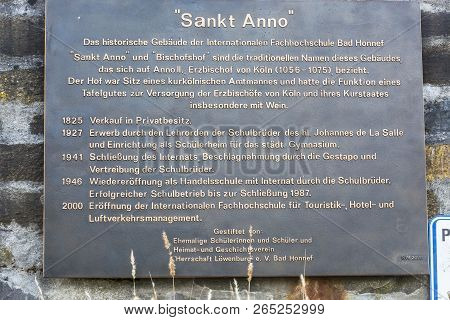 Bad Honnef, Germany - March 27, 2016: Memorial Plaque At The Former School St Anno School Brothers I
