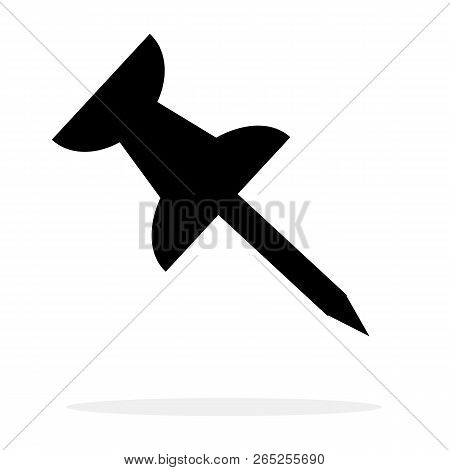 Pushpin Icon In Trendy Flat Style On White Background. Pushpin Icon For Your Web Site Design, Logo,