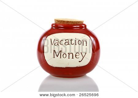 a vacation money jar, filled with cash for future vacations, holidays, weekend getaways, quick jaunts, driving trips, world travel, and any other excuse to get away and be free of concerns