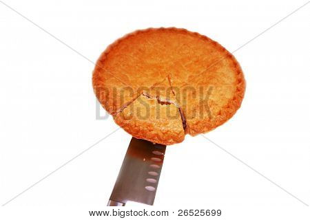 a fresh baked home made apple pie, hot from the oven with a slice being cut out and served to you, the hungry viewer. isolated on white with room for your text.