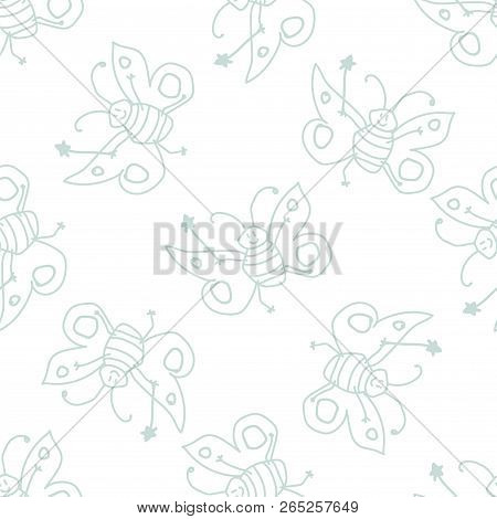 Seamless Pattern With Thin Line Doodle Happy Butterfly Fairy Sorceress On White Background. Vector I