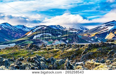 Impressive Landscape Of Beautiful Mountain And Rocky Field At Lanmannalaugar In Highlands Of Iceland