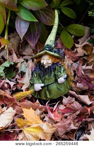 The Little Witch Zelda With A Broom In Her Garden Among The Fallen Leaves Of The Maple, Collage.