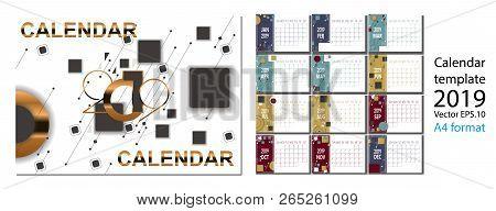 2019 New Year Calendar With Simle Geometric Figures.