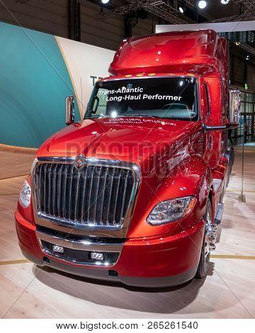Hannover, Germany - Sep 27, 2018: New 2019 International Trucks Lt A26 Lt625 Tractor Truck Showcased