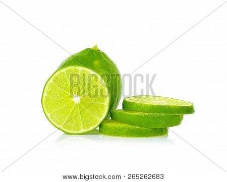 Lime isolated on white background. Lime is hight vitamin C. poster
