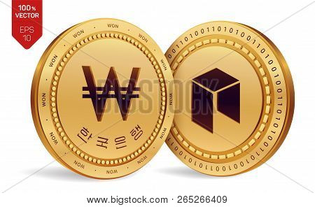 Neo. Won. 3d Isometric Physical Coins. Digital Currency. Korea Won Coin With The Text In Korean Bank