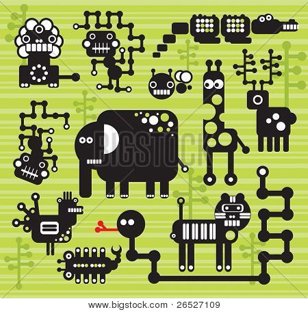 Robots and monsters collection. Vector illustration of Africa animals and insects. poster