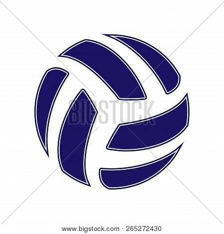 Blue Abstract Volleyball Symbol Isolated On White Background