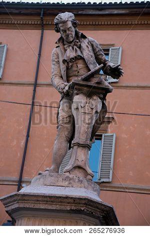 Statue Of Luigi Galvani In Bologna Italy. The Marble Statue Of Adalberto Cencetti Representing Luigi