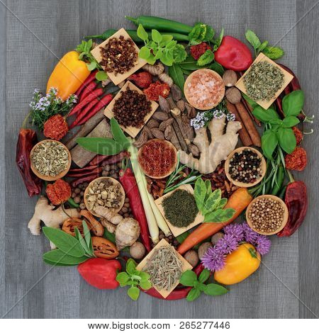 Spice and herb food seasoning collection with fresh and dried spices and herbs forming a circle on rustic wood background. Top view.