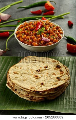 Healthy Vegan Diet Food- Chapathi With Channa Masala Curry