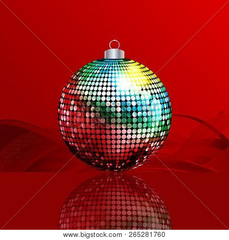 Christmas Disco Ball Bauble Multicolored Over Festive Red Background With Waves