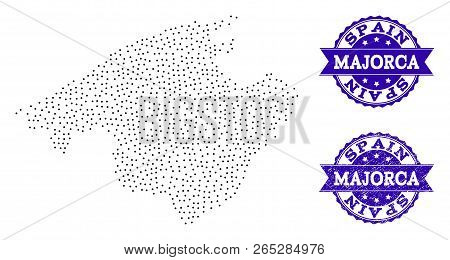 Dotted Black Map Of Majorca And Blue Unclean Seal. Vector Map Of Majorca Designed With Irregular Sma