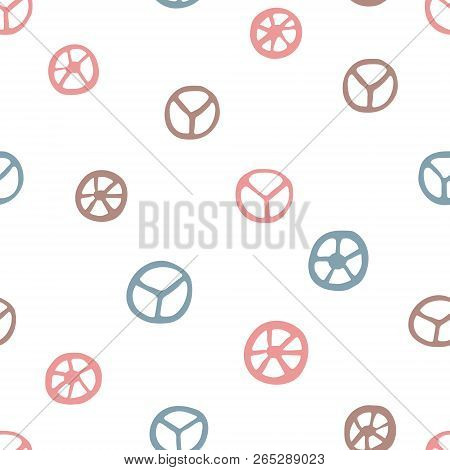 Peace Signs Seamless Pattern. Hand Drawn Pacifist Symbols On White Background. Cute Retro Pattern Fo
