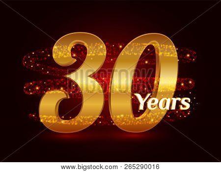 30 Years Golden Anniversary 3d Logo Celebration With Glittering Spiral Star Dust Trail Sparkling Par